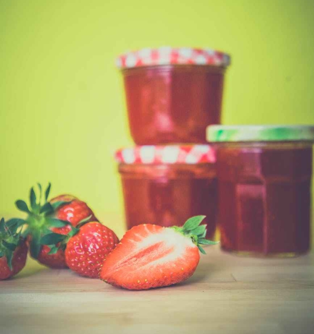 red sweet jam strawberries